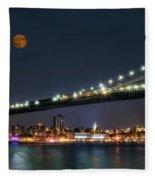 Moonrise Over Manhattan Fleece Blanket