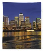 Moonrise Over River Thames Flowing Past Canary Wharf Fleece Blanket
