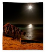 Moonset Over Windnsea Fleece Blanket