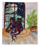 Moonstruck Cats - Winter Wonderland Fleece Blanket