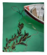 Moored Boat And Kelp Fleece Blanket