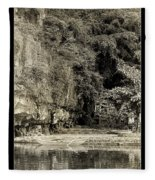 Moored Boat By The River In Tam Coc Fleece Blanket