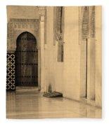 Moorish Walkway In Sepia At The Alhambra Fleece Blanket