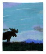 Moose - At - Sunset Fleece Blanket