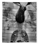 Moose Cabin Fleece Blanket