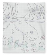 Moose Cartoon Fleece Blanket
