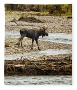 Moose Crossing River No. 1 - Grand Tetons Fleece Blanket