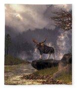 Moose In The Adirondacks Fleece Blanket