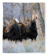 Moose Meeting Fleece Blanket