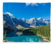 Moraine Lake At Banff National Park Fleece Blanket