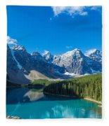 Moraine Lake At Banff National Park Fleece Blanket