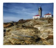 Morning At Beavertail Lighthouse Fleece Blanket