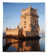 Morning At Belem Tower In Lisbon Fleece Blanket
