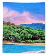 Morning At Papohaku Beach  Fleece Blanket