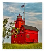 Morning At The Big Red Lighthouse Fleece Blanket
