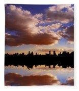 Morning At The Reservoir New York City Usa Fleece Blanket