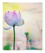 Morning Breeze And Beautiful Lotus Fleece Blanket