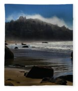 Morning Fog Burn Fleece Blanket