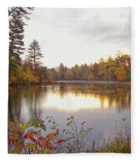Morning Fog On The Lake Fleece Blanket