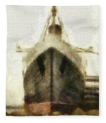 Morning Fog Queen Mary Ocean Liner Bow 03 Long Beach Ca Photo Art 02 Fleece Blanket