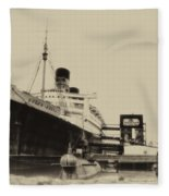Morning Fog Russian Sub And Queen Mary Heirloom Fleece Blanket