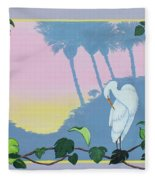 Morning Heron Fleece Blanket