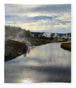 Morning In Upper Geyser Basin In Yellowstone National Park Fleece Blanket