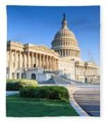 Powerful - Washington Dc Morning Light On Us Capitol Fleece Blanket