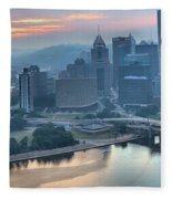 Morning Light Over The City Of Bridges Fleece Blanket