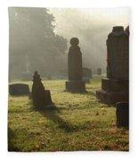 Morning Mist At The Cemetery Fleece Blanket