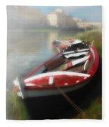 Morning Mist On The Arno River Italy Fleece Blanket
