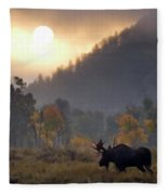Morning Moose Fleece Blanket
