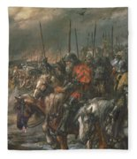Morning Of The Battle Of Agincourt, 25th October 1415, 1884 Oil On Canvas Fleece Blanket