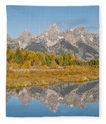 Morning Reflection Of The Teton Range Fleece Blanket