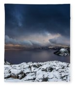 Morning Storm At Crater Lake Fleece Blanket
