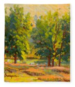 Morning Through The Trees Fleece Blanket