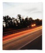 Morning Traffic On Highway Fleece Blanket