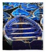 Moroccan Blue Fishing Boats Fleece Blanket