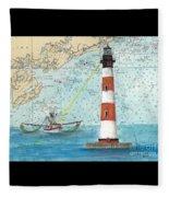 Morris Island Lighthouse Sc Nautical Chart Map Art Fleece Blanket