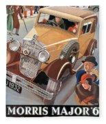 Morris Major 6 - Vintage Car Poster Fleece Blanket