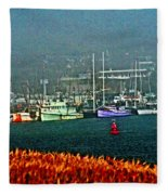 Morro Bay At A Distance Fleece Blanket