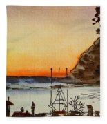 Morro Bay - California Sketchbook Project Fleece Blanket