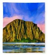 Morro Rock Sunset Fleece Blanket