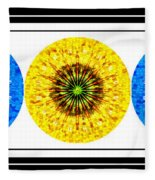 Mosaic Blue Circles With Yellow Fleece Blanket