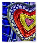 Mosaic Heart By Diana Sainz Fleece Blanket
