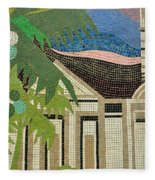 Mosaic Of Church With Palm Tree Fleece Blanket