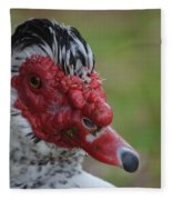 Moscovy Duck With Hairdo Fleece Blanket