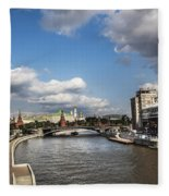 Moscow River - Russia Fleece Blanket
