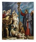 Moses And The Brazen Serpent Fleece Blanket