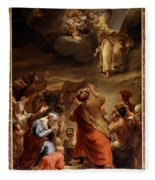 Moses Descends From Mount Siniai With The Ten Commandments Fleece Blanket